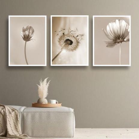 Imagem de Conjunto kit 3 quadros decorativos quarto sala floral bege paradise