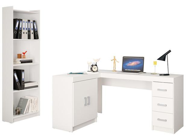 3aae52a44bcab Conjunto Liberdade 2 Portas 3 Gavetas Politorno - com Mesa para  Computador Escrivaninha e Estante