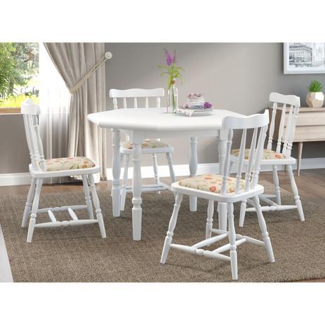 2d16f9863 Conjunto Mesa Oitavada com 4 Cadeiras Foz Branca Estofado Floral Piratini -  Marjorie