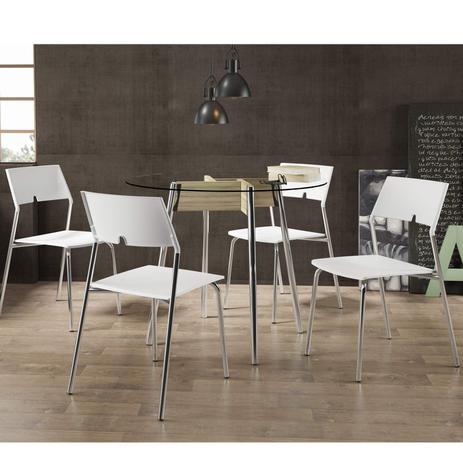 996502bbb10 Conjunto Mesa Redonda Tampo Vidro e 4 Cadeiras Cromado Anis Branco - Carraro