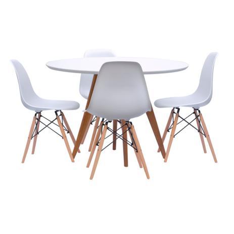 Conjunto Mesa Square Redonda Branco Fosco 88cm com 4 Cadeiras Eiffel Branca - Abra casa