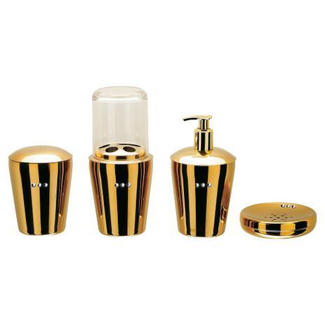 Imagem de Conjunto Organizador Banheiro SPA Golden Crystal Aço Inox 4 Peças