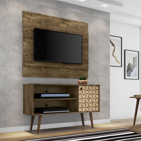 Imagem de Conjunto Painel Tv Bali Com Rack Jade Cor Madeira Rustica 3D