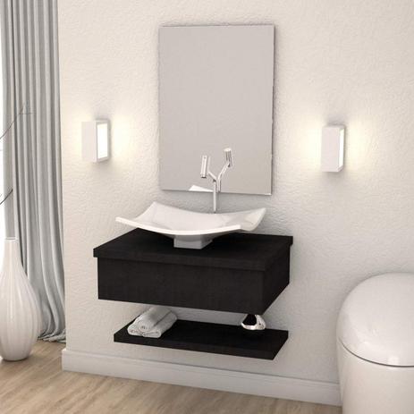 Imagem de Conjunto para Banheiro Gabinete com Cuba F44 e Prateleira 605W Metrópole Compace Preto Onix