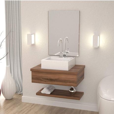 Conjunto Para Banheiro Gabinete Com Cuba Q35 E Prateleira 605w Metrópole Compace Nogal
