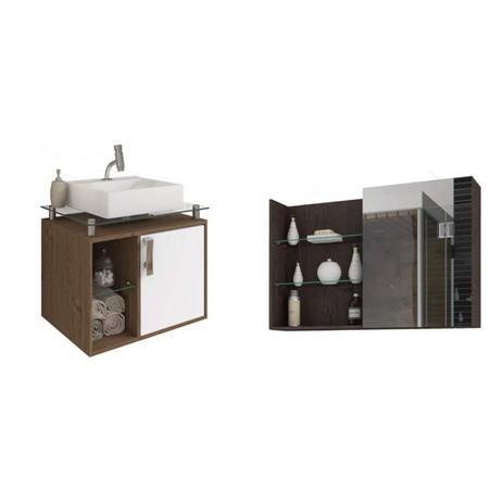 Imagem de Conjunto para Banheiro Gabinete com Cuba Sobreposta Base de Vidro e Espelho 1 Porta Espresso Móveis Amêndoa/Café