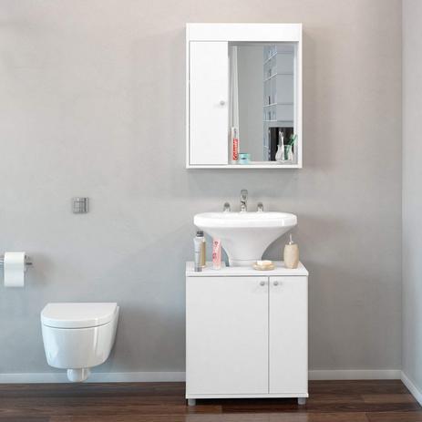 Conjunto Para Banheiro Pequeno Com Armário Espelheira E Gabinete Politorno Branco