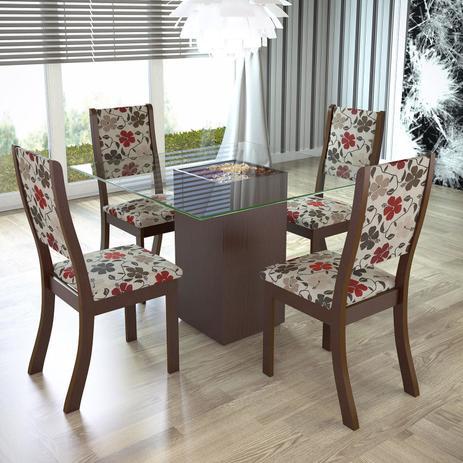Imagem de Conjunto para Sala de Jantar Mesa e 4 Cadeiras Espresso Móveis Choco/Passion