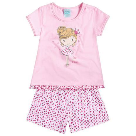 33a3a8c7d2 Conjunto Pijama Menina Adorável Pequena Princesa Rosa - Kyly ...