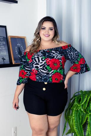 1d62503e0 Conjunto Plus Size Blusa Estampada e Short Lindo Moda Animal Print - Bellucy  modas