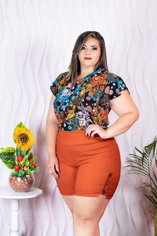abbc2c3a5 Conjunto Plus Size Blusa Estampada+ Short Moda Roupas Femininas - Bellucy  modas