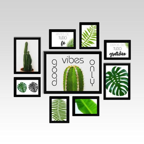 398a61823 Conjunto - Quadros Decorativos Para Sala Good Vibes Only 9 Pçs - Iframes  decoração