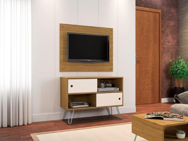Imagem de Conjunto Rack Com Painel Para TV 32quot Com Pés de Aço Fendi Cinamomo com Offwhite