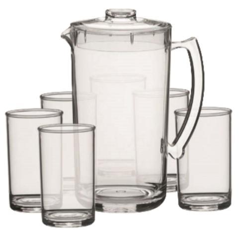 Imagem de Conjunto Refresco 07 Pç 1 jarra de 2 litros e 6 copos água 350 ml  Acrílico Kaballa - CRISTAL
