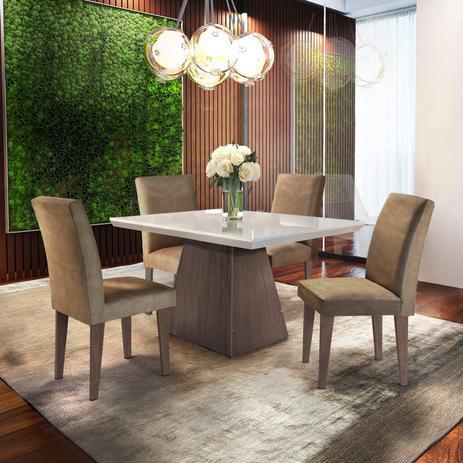 Imagem de Conjunto Sala de Jantar com 4 Cadeiras Ágata Espresso Móveis Chocolate/Off White/Café