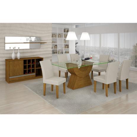 Conjunto Sala De Jantar Com Mesa Angelina 160m 6 Cadeiras Euro
