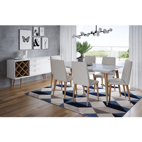 Conjunto Sala De Jantar Com Mesa Branco Gloss 6 Cadeiras E Buffet