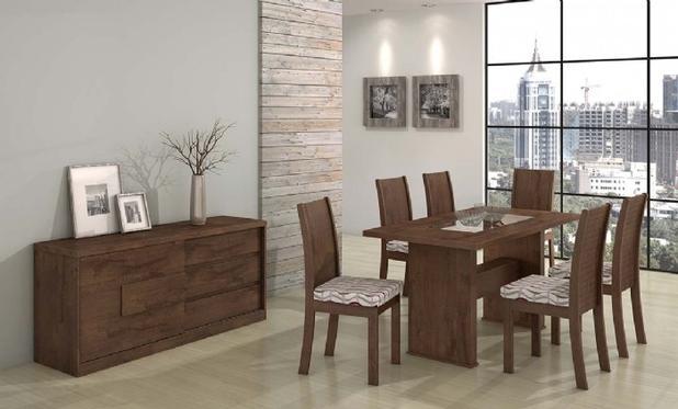 Conjunto Sala De Jantar Completa Sâmara New Mesa 160m 6 Cadeiras