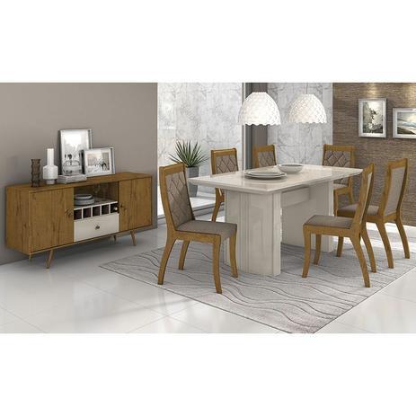 Conjunto Sala De Jantar Merengue Mesa 180 Cm E 06 Cadeiras Merengue