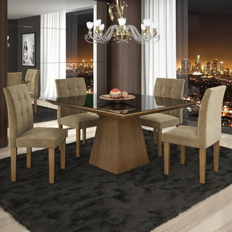 Imagem de Conjunto Sala de Jantar Mesa 4 Cadeiras Pietra Tik Plus Stilo Siena Móveis Castanho