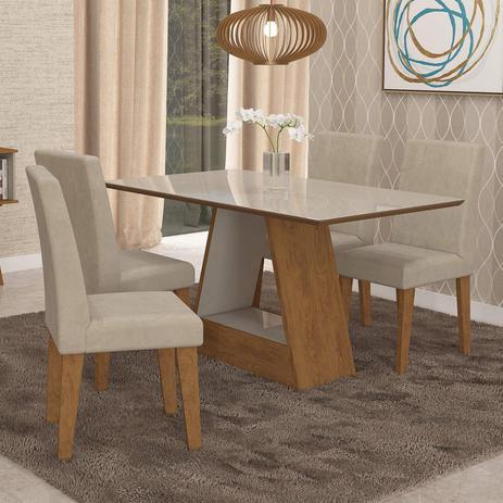 6d568d0a1 Conjunto Sala de Jantar Mesa Alana Retângular 4 Cadeiras Milena Cimol  Savana Branco Off White Bege