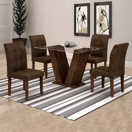 0421a9087 Conjunto Sala de Jantar Mesa Classic Tampo de Vidro 4 Cadeiras Vitória Cel  Móveis Chocolate /Animale Marrom 52