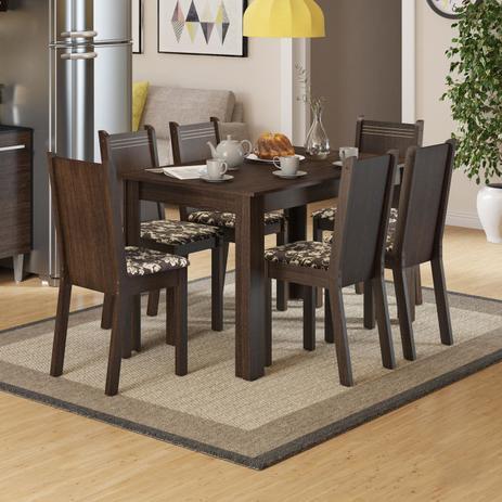 Conjunto Sala De Jantar Mesa E 6 Cadeiras Maris Madesa Tabaco Cacau