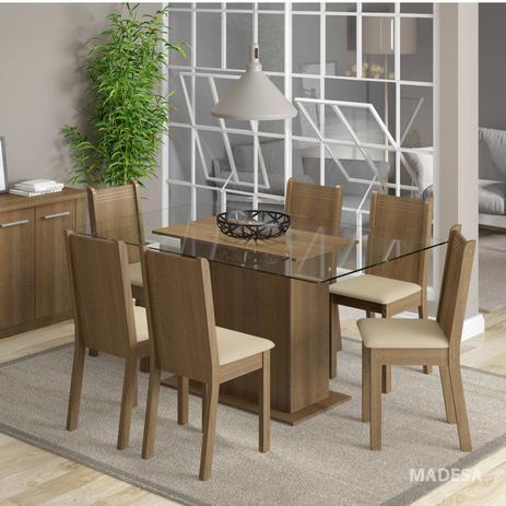 Imagem de Conjunto Sala de Jantar Mesa e 6 Cadeiras Molly Madesa Rustic/Pérola
