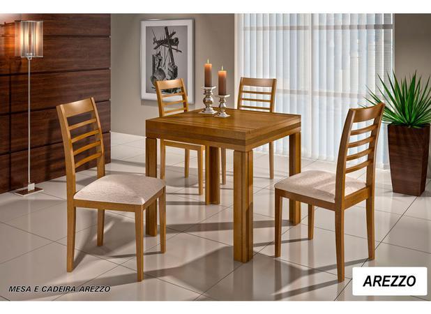 75cdb01cc87 Conjunto Sala de Jantar Mesa Elástica com 4 Cadeiras Madeira Maciça Arezzo  - Greice móveis