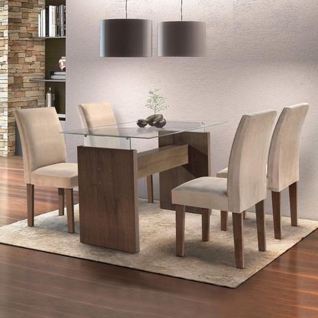 b93bca7bb5 Conjunto Sala de Jantar Mesa Evidence 4 Cadeiras Classic Cel Móveis Malbec   Suede Pena 84