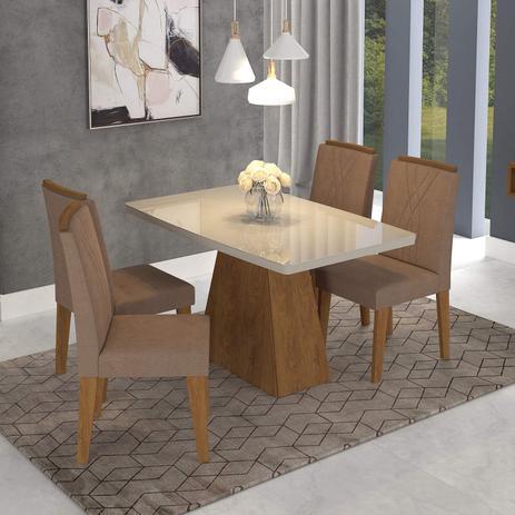 a2d43fd1a Conjunto Sala de Jantar Mesa Helen 4 Cadeiras Nicole Cimol Savana Offwhite  Pluma