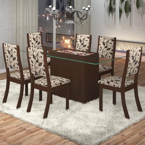 Imagem de Conjunto Sala de Jantar Mesa Lina 6 Cadeiras Kiara Viero Choco/Medina