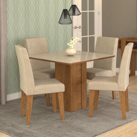 a5958ba97 Conjunto Sala de Jantar Mesa Rafaela 4 Cadeiras Milena Cimol Savana Branco Off  White Bege