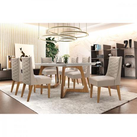 Imagem de Conjunto Sala de Jantar Mesa Safira 180 com 6 cadeiras Rufato