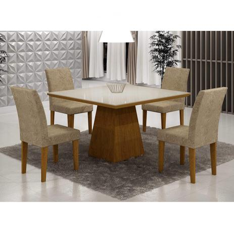 467c28341 Conjunto Sala de Jantar Mesa Tampo de Vidro Luna 4 Cadeiras Grécia Rufato  Imbuia Off White Suede Chocolate