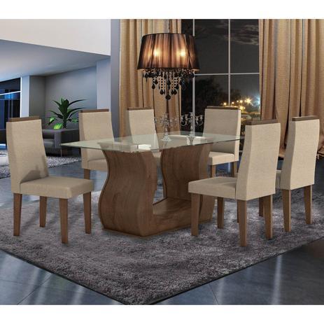 c98909b2f Conjunto Sala de Jantar Mesa Tampo em Vidro 6 Cadeiras Dafne Móveis Lopas  Imbuia Rinzai Bege