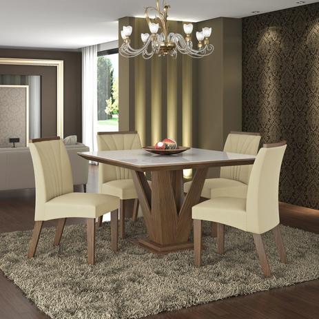 Conjunto Sala De Jantar Mesa Tampo Mdfvidro 4 Cadeiras Jade Lj