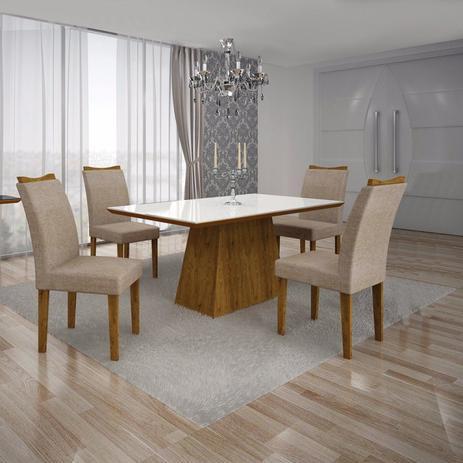 Conjunto Sala De Jantar Mesa Tampo Mdfvidro Branco 4 Cadeiras
