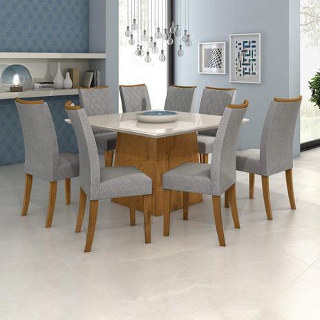 Imagem de Conjunto Sala de Jantar Mesa Vidro Off White Nevada 130cm 8 Cadeiras Camini Móveis Lopas  Rovere/Off White/Linho Rinzai Cinza