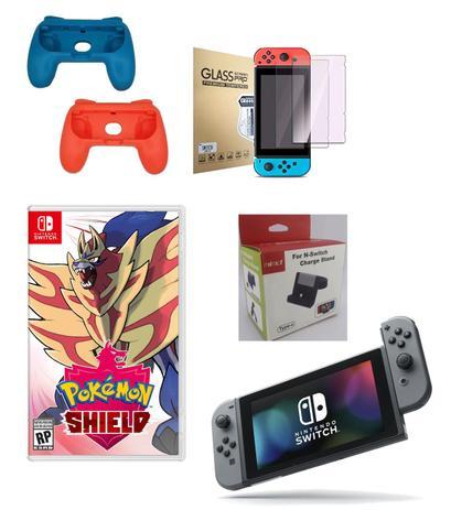 Imagem de Console Nintendo Switch + Pokemon Shield + Carregador Stand + Pelicula + Grip Dos Joycons