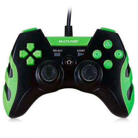Imagem de Controle Gamer Com Fio PS3 PC Preto com Verde - Multilaser