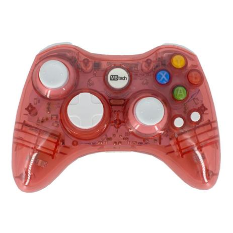 Imagem de Controle Sem Fio Transparente À Pilha Para Xbox 360 Vermelho