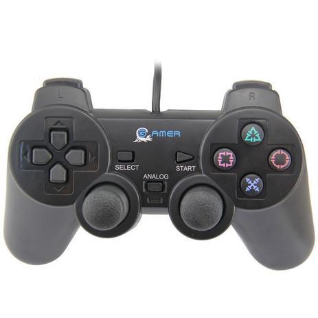 Imagem de Controle Usb Ps2 Compatível Com Computador Notebok Com Vibração Analógico