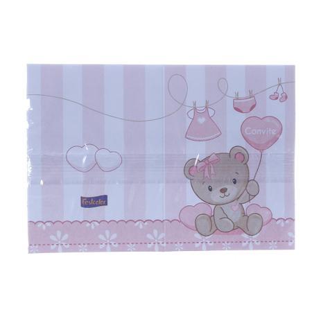 1b328e9a7e Convite de Aniversário Baby Ursinho Rosa Pacote com 8 Unidades Festcolor