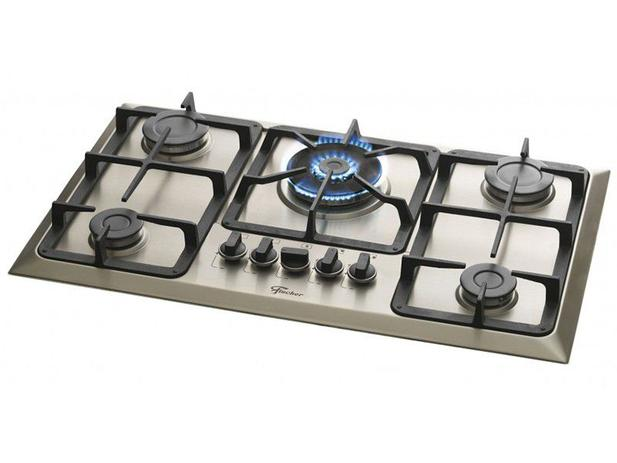 cfcf6f10f Cooktop 5 Bocas Fischer Infinity 23678-54121 Inox - à Gás Natural e GLP  Tripla-Chama