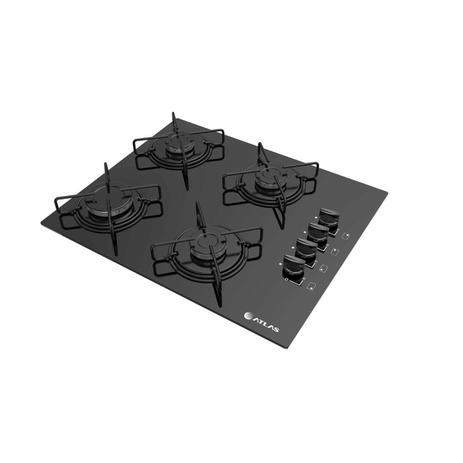 Imagem de Cooktop Atlas 4 bocas preto com acendimento super automático - Agile e Trempes em aço esmaltado - Bivolt