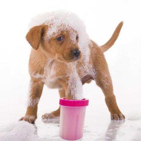 Imagem de Copo Cachorro Limpador Limpa Patas Patinhas Pet Banho Higiene Rosa
