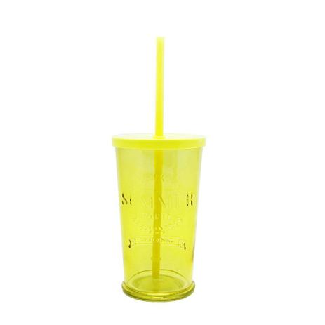 Imagem de Copo de Vidro com Canudo Amarelo