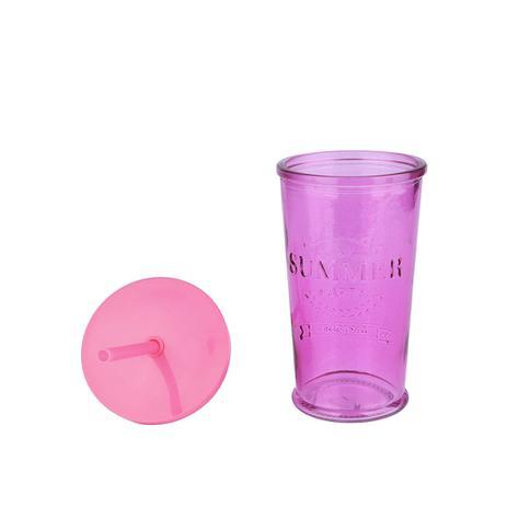 Imagem de Copo de Vidro com Canudo Pink