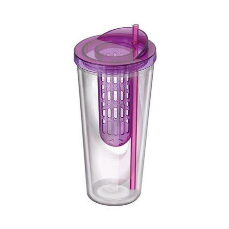 Imagem de Copo Squeeze com Infusor de Frutas Dieta Fitness Agua Detox 600 ML Roxo